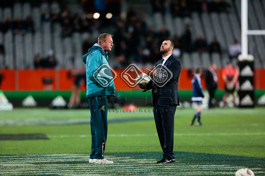 Cheika looks to the sky during the New Zealand All Blacks v Australia, Rugby Championship test match, Forsyth Barr stadium, Dunedin, New Zealand. 26 August 2017. Copyright Image: Derek Morrison / www.photosport.nz