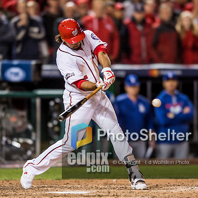 13 October 2016: Washington Nationals infielder Anthony Rendon at bat during the NLDS Game 5 against the Los Angeles Dodgers at Nationals Park in Washington, DC. The Dodgers edged out the Nationals 4-3, to take Game 5, and the Series, 3 games to 2, moving on to the National League Championship against the Chicago Cubs. Mandatory Credit: Ed Wolfstein Photo *** RAW (NEF) Image File Available ***