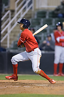 Arquimedes Gamboa (7) of the Lakewood BlueClaws follows through on his swing against the Kannapolis Intimidators at Kannapolis Intimidators Stadium on April 6, 2017 in Kannapolis, North Carolina.  The BlueClaws defeated the Intimidators 7-5.  (Brian Westerholt/Four Seam Images)