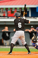 Kale Kiser #6 of the Bristol White Sox at bat against the Burlington Royals at Burlington Athletic Park on July 6, 2012 in Burlington, North Carolina.  The Royals defeated the White Sox 5-2.  (Brian Westerholt/Four Seam Images)