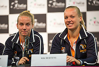 Arena Loire,  Trélazé,  France, 14 April, 2016, Semifinal FedCup, France-Netherlands, Draw,  lts: Richel Hogenkamp and Kiki Bertens<br /> Photo: Henk Koster/Tennisimages
