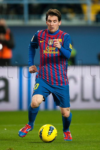 22.01.2012 Malaga, Spain. The La Liga football match between FC Malaga and FC Barcelona played in the La Rosaleda Stadium. Image shows, Lionel Messi from Argentina (FC Barcelona)..