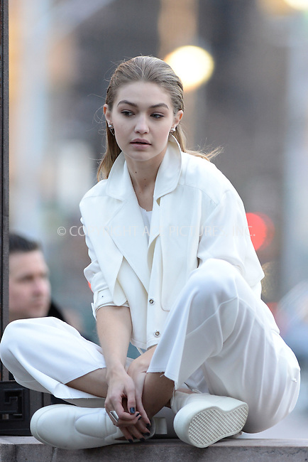 WWW.ACEPIXS.COM<br /> March 29, 2016 New York City<br /> <br /> Gigi Hadid was seen at a photo shoot for Maybelline in Manhattan on March 29, 2016.<br /> <br /> <br /> Credit: Kristin Callahan/ACE Pictures<br /> <br /> Tel: (646) 769 0430<br /> e-mail: info@acepixs.com<br /> web: http://www.acepixs.com