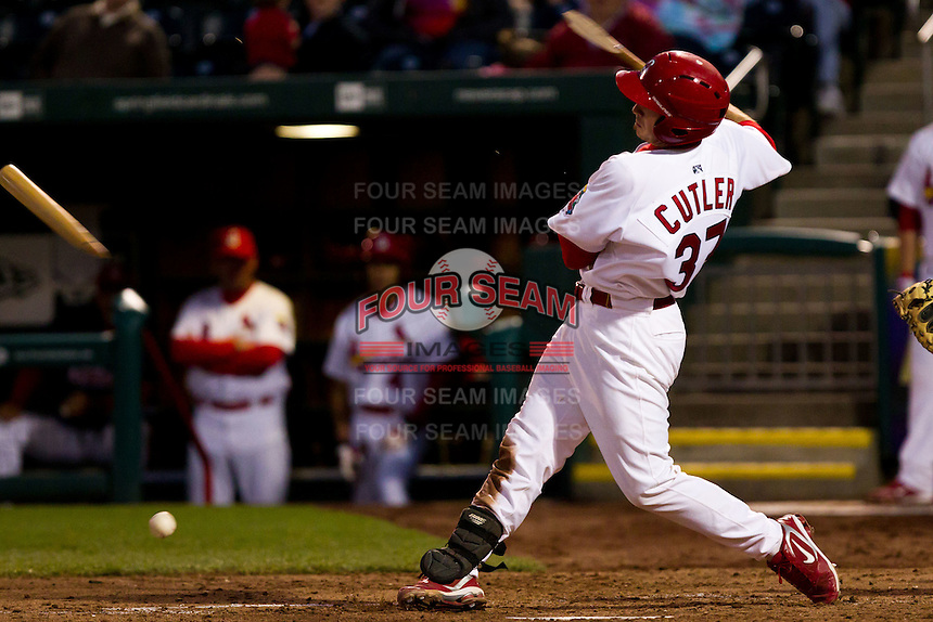 Charles Cutler (37) of the Springfield Cardinals breaks his bat while hitting a ground ball during a game against the Tulsa Drillers on April 29, 2011 at Hammons Field in Springfield, Missouri.  Photo By David Welker/Four Seam Images.