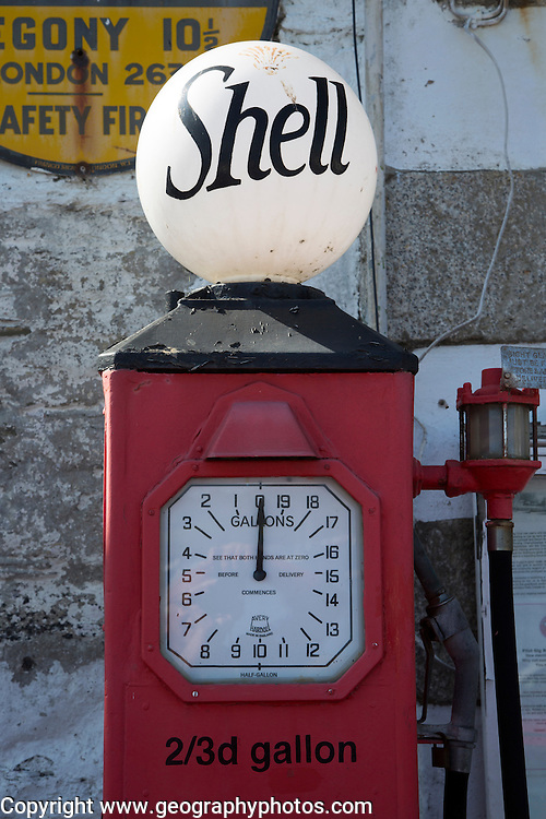 Old shell petrol pump, St Mawes, Cornwall, England, UK