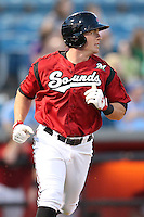 Nashville Sounds outfielder Brendan Katin #39 runs to first during a game against the Omaha Storm Chasers at Greer Stadium on April 25, 2011 in Nashville, Tennessee.  Omaha defeated Nashville 2-1.  Photo By Mike Janes/Four Seam Images