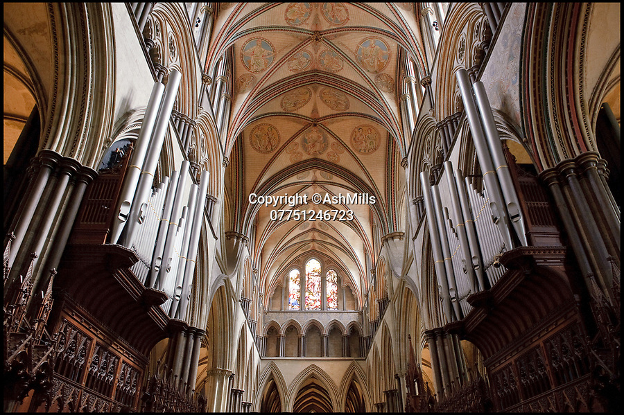 BNPS.co.uk (01202 558833)Pic: AshMills/BNPS<br /> <br /> Sailsbury Cathedral's historic organ.<br /> <br /> Wind of change at Salisbury Cathedral - Fund raising appeal launched for £700,000 renovation of historic organ.<br /> <br /> Salisbury Cathedral's historic Willis Organ, built in 1877 at a cost of £3,500 and described as one of the finest in the world, is now in need of a £700,000 renovation that will put the 141 year old instrument out of action for over a year.<br /> <br /> The massive instrument's 3,800 pipes made from a lead/tin alloy and pine wood will have to be painstakingly dismantled and taken off to church organ experts Harrison & Harrison in Durham.
