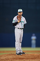 Daytona Tortugas relief pitcher Jesse Adams (17) looks in for the sign during a game against the Tampa Tarpons on April 18, 2018 at George M. Steinbrenner Field in Tampa, Florida.  Tampa defeated Daytona 12-0.  (Mike Janes/Four Seam Images)