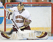 Cory Schneider (Boston College - Marblehead, MA) warmups up before the 2007 NCAA Northeast Regional Final on Sunday, March 25, 2007 at the Verizon Wireless Arena in Manchester, New Hampshire.
