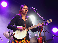 Rhiannon Giddens performs at the Cambridge Folk Festival 2018, Cherry Hinton Hall, Cambridge, England, UK on 3rd and 4th August 2018.<br /> CAP/ROS<br /> &copy;ROS/Capital Pictures
