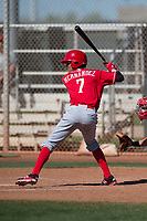 Cincinnati Reds shortstop Miguel Hernandez (7) during a Minor League Spring Training game against the Chicago White Sox at the Cincinnati Reds Training Complex on March 28, 2018 in Goodyear, Arizona. (Zachary Lucy/Four Seam Images)