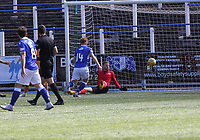 Mark Gillespie (Motherwell) looks anxiously as the ball spins across his goal in the SPFL Betfred League Cup group match between Queen of the South and Motherwell at Palmerston Park, Dumfries on 13.7.19.