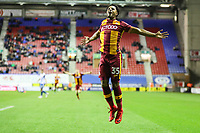 Substitute Tyrell Robinson of Bradford City celebrates  scoring a last minute winner during the Sky Bet League 1 match between Wigan Athletic and Bradford City at the DW Stadium, Wigan, England on 18 November 2017. Photo by Thomas Gadd.