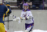 University at Albany Men's Lacrosse defeats Drexel 18-5 on Feb. 24 at Casey Stadium.  Connor Fields (#5). (Photo by Bruce Dudek / Cal Sport Media/Eclipse Sportswire)