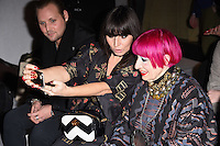 Grace Woodward and Zandra Rhodes<br /> at the Jasper Conran AW17 show as part of London Fashion Week AW17 at Claridges, London.<br /> <br /> <br /> &copy;Ash Knotek  D3230  17/02/2017