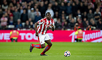 Kurt Zouma (on loan from Chelsea) of Stoke City during the Premier League match between West Ham United and Stoke City at the Olympic Park, London, England on 16 April 2018. Photo by Andy Rowland.