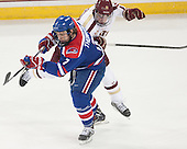 Shayne Thompson (UML - 7), Ryan Fitzgerald (BC - 19) - The Boston College Eagles defeated the visiting University of Massachusetts Lowell River Hawks 3-0 on Friday, February 21, 2014, at Kelley Rink in Conte Forum in Chestnut Hill, Massachusetts.
