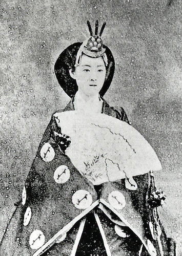 Undated - Empress Shoken (1849-1914) also known as Empress Dowager Shoken was empress consort of Emperor Meiji of Japan. She was born Ichijo Masako (later Haruko) and became engaged to Emperor Meiji on September 2, 1867. Emperor Meiji had fifteen children by five official ladies-in-waiting. As it had long been the custom in Japanese monarchy, she adopted Yoshihito, her husband's eldest son by a concubine. Yoshihito thus became the official heir to the throne, and at Emperor Meiji's death, succeeded him as Emperor Taisho. (Photo by Kingendai Photo Library/AFLO)