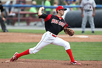 Batavia Muckdogs pitcher Chris Corrigan (16) during a game vs. the Mahoning Valley Scrappers at Dwyer Stadium in Batavia, New York August 3, 2010.  Batavia defeated Mahoning Valley 8-1.  Photo By Mike Janes/Four Seam Images