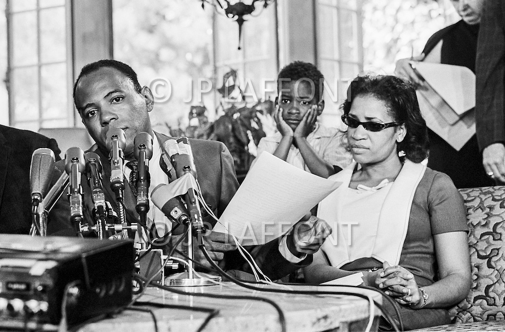 """1966, USA --- American civil rights movement figure James Meredith giving a press conference after being wounded on June 6, 1966 by a sniper during the """"March Against Fear"""" from Memphis, Tennessee to Jackson, Mississippi. --- Image by © JP Laffont"""