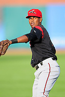 Rando Moreno (17) of the Richmond Flying Squirrels warms up in the outfield prior to the game against the prior to a game versus the New Hampshire Fisher Cats at Northeast Delta Dental Stadium on June 5, 2015 in Manchester, New Hampshire. (Ken Babbitt/Four Seam Images)