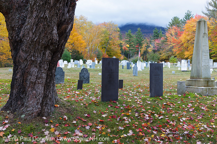 Kinsman Cemetery in Easton, New Hampshire during the autumn months.