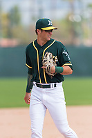 Oakland Athletics third baseman Max Schuemann (45) during an exhibition game against Team Italy at Lew Wolff Training Complex on October 3, 2018 in Mesa, Arizona. (Zachary Lucy/Four Seam Images)