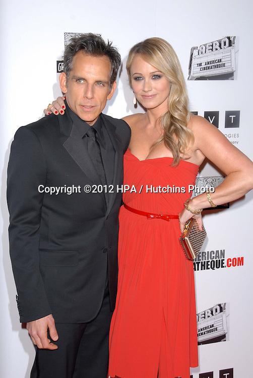 LOS ANGELES - NOV 15:  Ben Stiller, Christine Taylor arrives for the 26th American Cinematheque Award Honoring Ben Stiller at Beverly Hilton Hotel on November 15, 2012 in Beverly Hills, CA