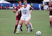 Florida International University women's soccer player Victoria Miliucci (18) plays against the University of Denver on October 16, 2011 at Miami, Florida. FIU won the game 1-0. .