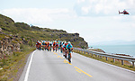 The peloton in action during Stage 1 of the 2018 Artic Race of Norway, running 184km from Vadso to Kirkenes, Norway. 16th August 2018. <br /> <br /> Picture: ASO/Rasmus Kongsore | Cyclefile<br /> All photos usage must carry mandatory copyright credit (&copy; Cyclefile | ASO/Rasmus Kongsore)