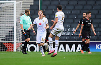 Milton Keynes Dons' Joe Mason, left, celebrates scoring his side's equalising goal to make the score 1-1<br /> <br /> Photographer Chris Vaughan/CameraSport<br /> <br /> The EFL Sky Bet League One - Milton Keynes Dons v Lincoln City - Saturday 19th September 2020 - Stadium MK - Milton Keynes<br /> <br /> World Copyright © 2020 CameraSport. All rights reserved. 43 Linden Ave. Countesthorpe. Leicester. England. LE8 5PG - Tel: +44 (0) 116 277 4147 - admin@camerasport.com - www.camerasport.com