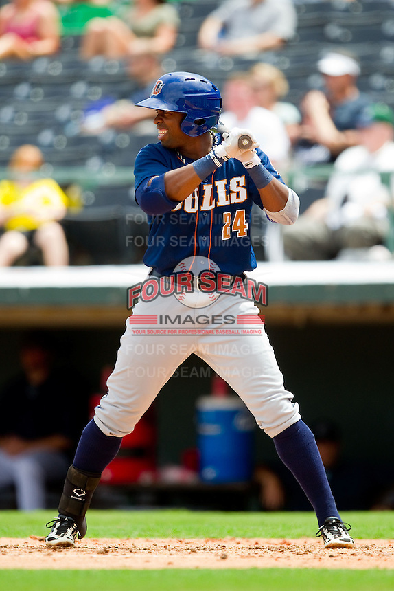 Leslie Anderson (24) of the Durham Bulls at bat against the Charlotte Knights at Knights Stadium on August 18, 2013 in Fort Mill, South Carolina.  The Bulls defeated the Knights 8-5 in Game One of a double-header.  (Brian Westerholt/Four Seam Images)