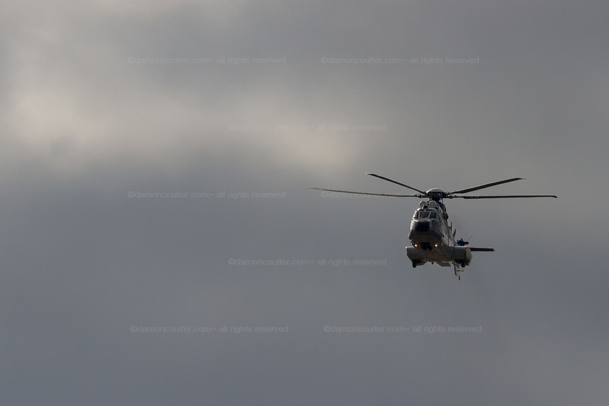 "A Airbus Helicopters H225M ""Super Puma"" operated by ATLA (Acquisitiions, Technology and Logistics Agency) which is part of the Japanese Ministry of Defense flying near Naval Air Facility, Atsugi, Yamato, Kanagawa, Japan. Wednesday January 23rd 2019"