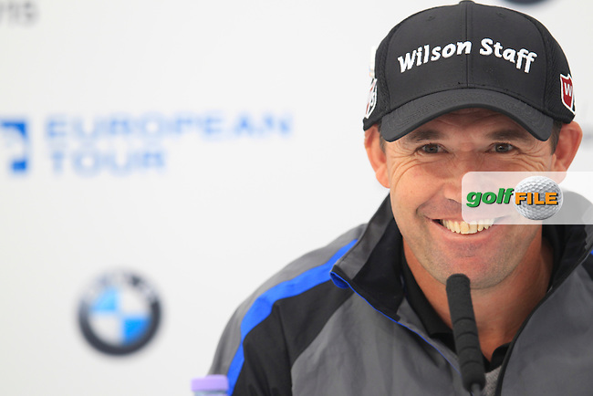 Padraig HARRINGTON (IRL) speaking ahead of the 2015 BMW PGA Championship. Wentworth Golf Club, Virginia Water, Surrey, UK. 20/05/2015.<br />  Picture Fran Caffrey, www.golffile.ie