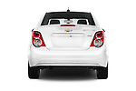Straight rear view of 2016 Chevrolet Sonic LTZ 4 Door Sedan Rear View  stock images