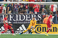 FOXBOROUGH, MA - AUGUST 25: Kenneth Kronholm #27 of Chicago Fire save during a game between Chicago Fire and New England Revolution at Gillette Stadium on August 24, 2019 in Foxborough, Massachusetts.