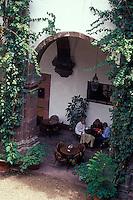 People sitting in the cafe in the Escuela de Bellas Artes or  El Nigromante, San Miguel de Allende, Mexico