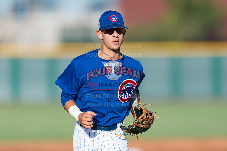 AZL Cubs 1 right fielder Ezequiel Pagan (1) jogs off the field between innings of an Arizona League game against the AZL Indians 1 at Sloan Park on August 27, 2018 in Mesa, Arizona. The AZL Cubs 1 defeated the AZL Indians 1 by a score of 3-2. (Zachary Lucy/Four Seam Images)