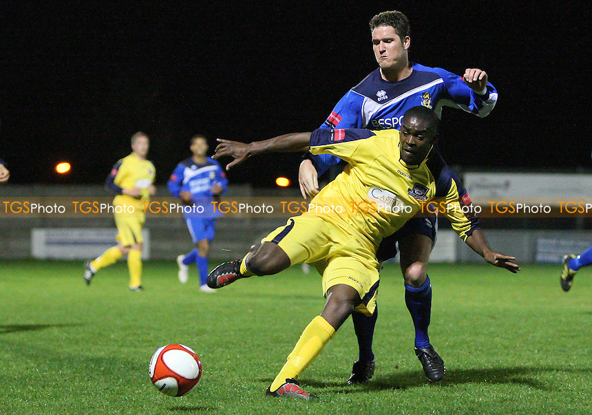 Frank Curley of Aveley tangles with Kevin Sefaah of Croydon Athletic - Croydon Athletic were suspended from football following the arrest and bail of owner Mazhar Majeed over cricket spot-fixing allegations - Aveley vs Croydon Athletic - Ryman League Premier Division -  24/09/10 - MANDATORY CREDIT: Gavin Ellis/TGSPHOTO - Self billing applies where appropriate - Tel: 0845 094 6026
