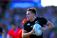 George Bridge heads for the tryline during the international rugby union match between the New Zealand All Blacks and Tonga at FMG Stadium in Hamilton, New Zealand on Saturday, 7 September 2019. Photo: Dave Lintott / lintottphoto.co.nz
