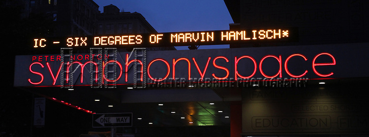 Theatre Marquee for the All Star Benefit ?Six Degrees of Marvin Hamlisch? benefitting The Actors Fund and honoring Broadway Musical Director Fran Liebergall at Symphony Space in New York City.  October 4, 2010...