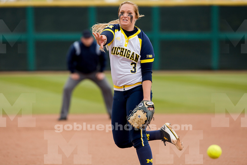 Michigan's Megan Betsa (3) is seen in action during an NCAA college softball game on Saturday, April 2, 2016, in Bloomington, Indiana. (Photo by James Brosher)
