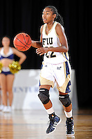 12 January 2012:  FIU guard Jerica Coley (22) handles the ball in the second half as the Middle Tennessee State University Blue Raiders defeated the FIU Golden Panthers, 74-60, at the U.S. Century Bank Arena in Miami, Florida.