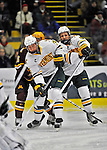 24 November 2012: University of Vermont Catamount defenseman Nick Luukko, a Sophomore from West Chester, PA, in first period action against the University of Minnesota Golden Gophers at Gutterson Fieldhouse in Burlington, Vermont. The Catamounts fell to the Gophers 3-1 in the second game of their 2-game non-divisional weekend series. Mandatory Credit: Ed Wolfstein Photo