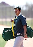 Kurt Suzuki. Oakland Athletics spring training workouts at the Athletics complex, Phoenix, AZ - 02/25/2010 & 02/26/2010.Photo by:  Bill Mitchell/Four Seam Images.