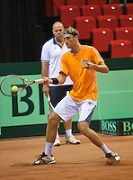 09-09-13,Netherlands, Groningen,  Martini Plaza, Tennis, DavisCup Netherlands-Austria, DavisCup,   Thiemo de Bakker(NED) and coach Raymond Knaap<br /> Photo: Henk Koster