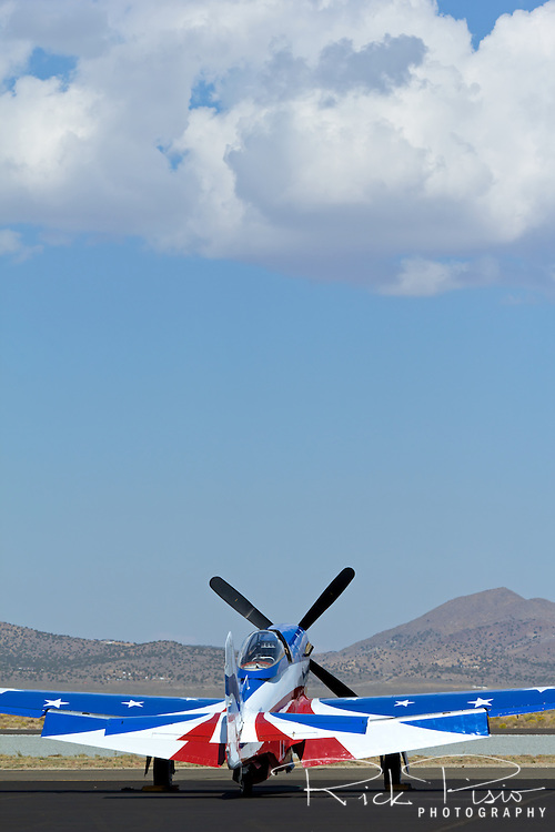 P-51 Mustang Miss America sits on the Stead Field ramp during the 2013 National Championship Air Races in Reno, Nevada.