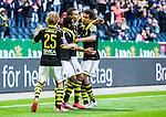 Solna 2015-04-26 Fotboll Allsvenskan AIK - &Ouml;rebro SK :  <br /> AIK:s Nabil Bahoui firar sitt 1-0 m&aring;l med lagkamrater Sam Lundholm , Noah Sonko Sundberg och Ebenezer Ofori under matchen mellan AIK och &Ouml;rebro SK <br /> (Foto: Kenta J&ouml;nsson) Nyckelord:  AIK Gnaget Friends Arena Allsvenskan &Ouml;rebro &Ouml;SK jubel gl&auml;dje lycka glad happy