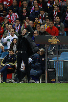 19.04.2012 MADRID, SPAIN - UEFA Europa League 11/12 Semi Finals match played between At. Madrid vs Valencia (4-2) at Vicente Calderon stadium. the picture show Diego Pablo Simeone coach of Atletico de Madrid