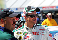 May 30, 2008; Dover, DE, USA; Nascar Sprint Cup Series driver Dale Earnhardt Jr (right) with crew chief Tony Eury Jr during qualifying for the Best Buy 400 at the Dover International Speedway. Mandatory Credit: Mark J. Rebilas-US PRESSWIRE